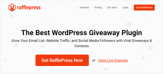El sitio web de RafflePress