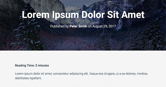 El tiempo de lectura que se muestra en la publicación del blog de WordPress