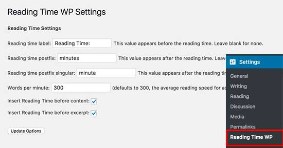 Configuración de WP de tiempo de lectura