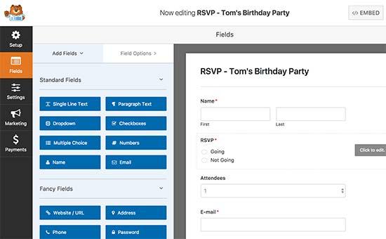 Creando un formulario RSVP con WPForms