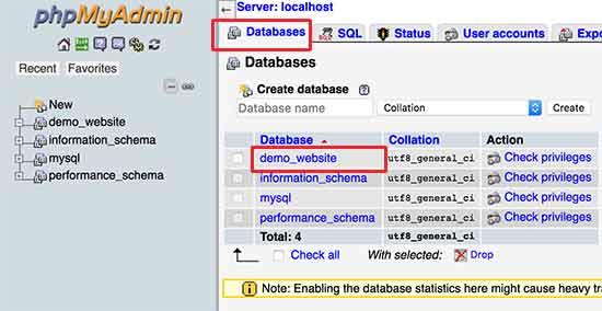 Seleccione su base de datos de WordPress
