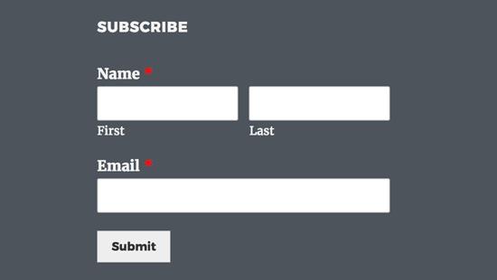 Widget de formulario de registro de AWeber