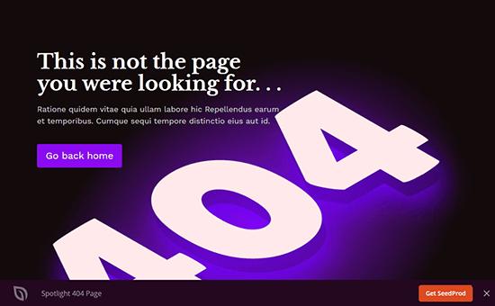 Página de error de Spotlight