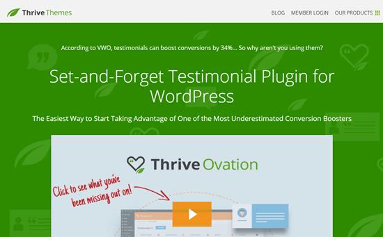 El sitio web de Thrive Ovation