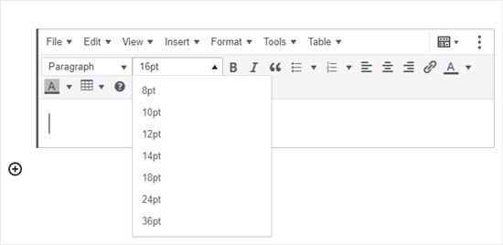 El bloque de párrafo clásico en el editor de bloques, agregado por el complemento TinyMCE Advanced