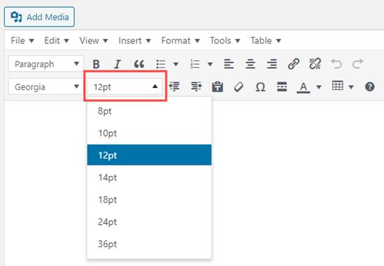Cambiar el tamaño de fuente con el editor avanzado de TinyMCE