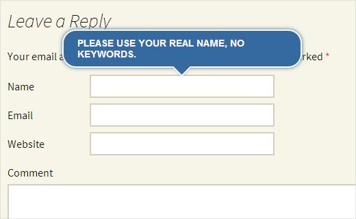 Adición de información sobre herramientas de jQuery al formulario de comentarios de WordPress