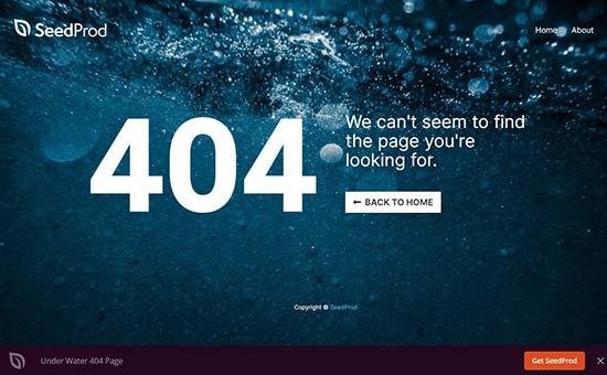 Página de error submarino