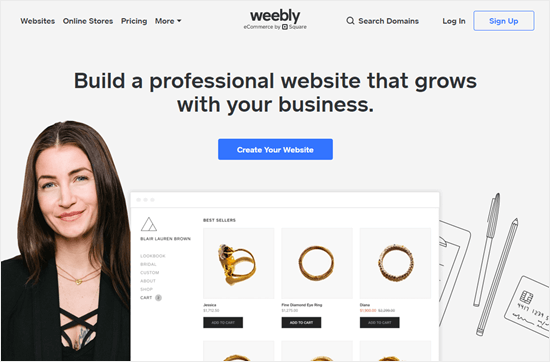 El sitio web de Weebly