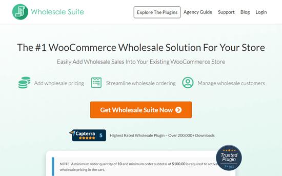 El sitio web de Wholesale Suite