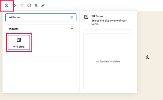 Agregue el bloque de formulario de contacto de WPForms a su página