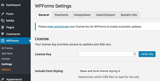 Clave de licencia de WPForms