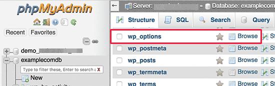 Tabla de opciones de WordPress