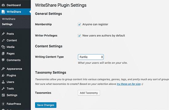 Página de configuración de WriteShare