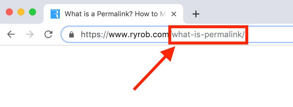 ¿Qué es un enlace permanente?  Ejemplo de URL de blog y captura de pantalla de un enlace permanente compatible con SEO