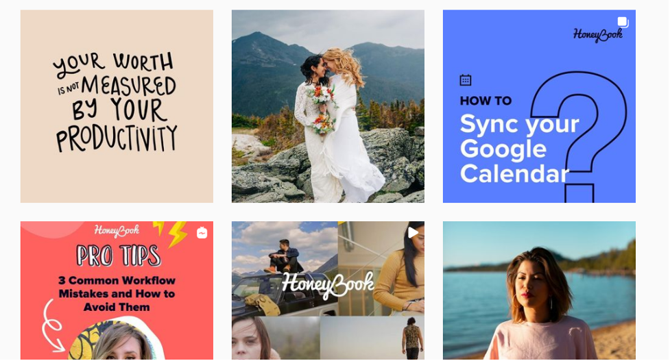 Ejemplos de publicidad en Instagram de Honeybook.