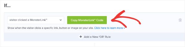 Copie el código de MonsterLink para la ventana emergente en la que se puede hacer clic