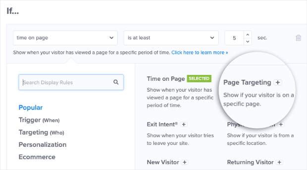 Regla de segmentación de página para OM