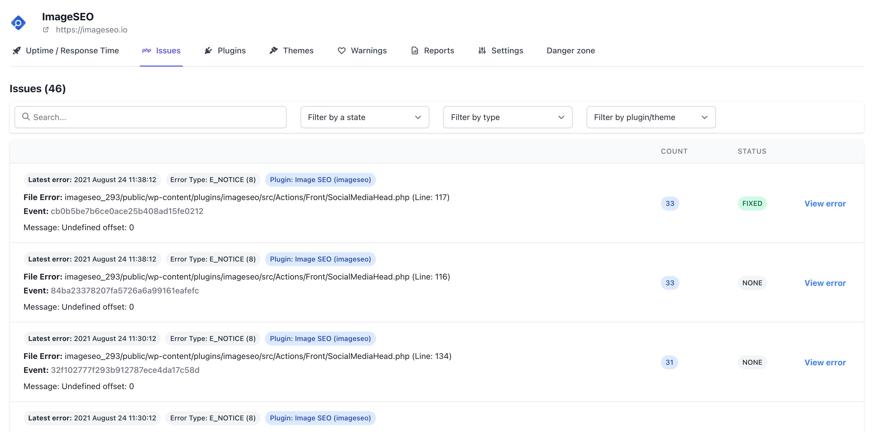 tabla de errores de php de wp umbrella
