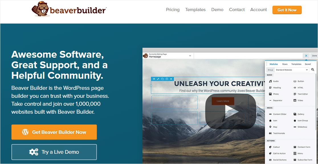 beaver builder mejores constructores de páginas de wordpress