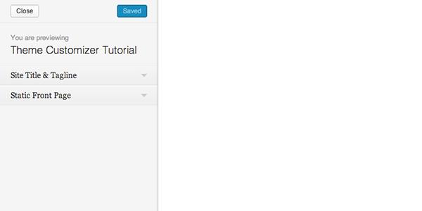 Personalizador de temas en un tema en blanco