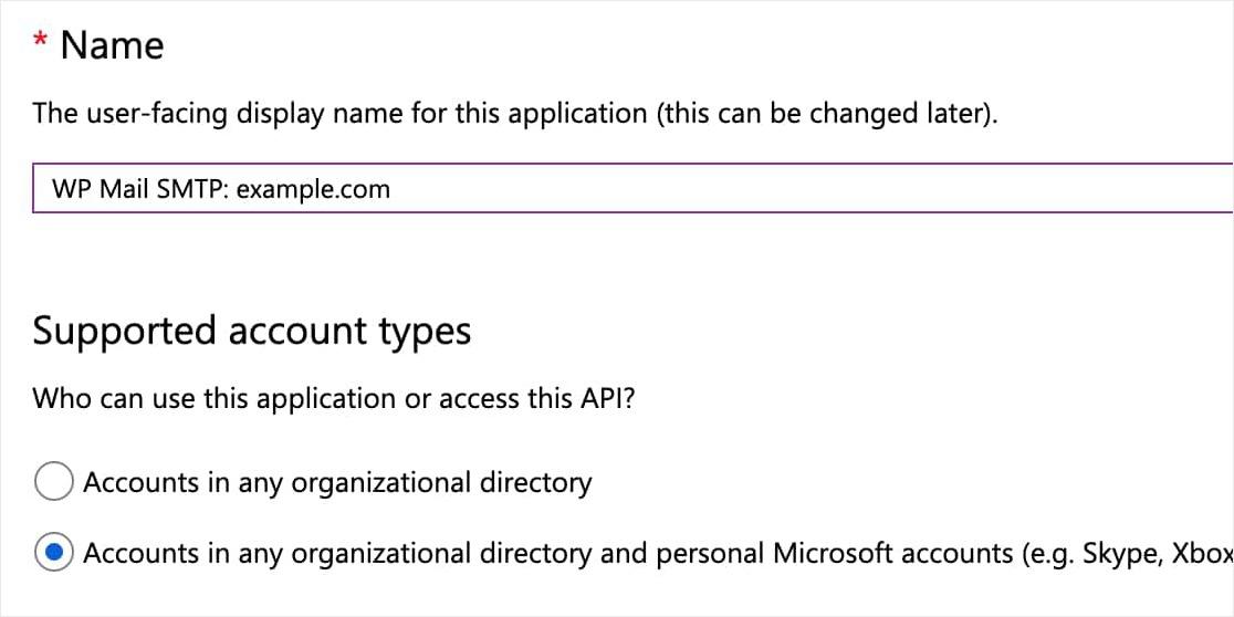 ejemplo de formulario de registro de la aplicación de microsoft