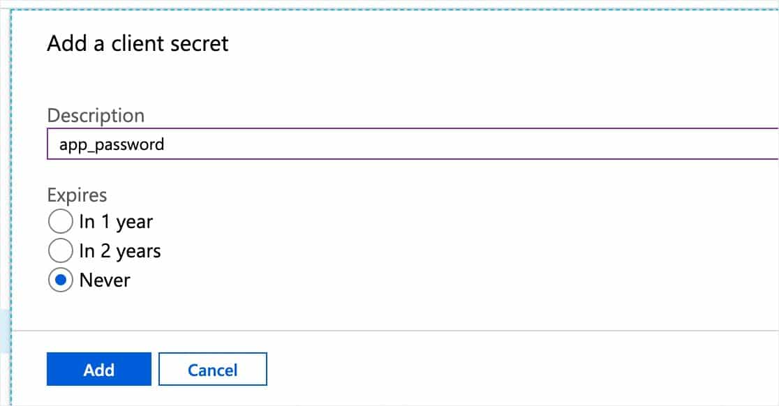 agregar un ejemplo de microsoft secreto de cliente