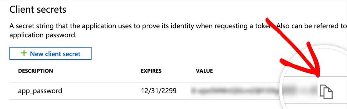 copiar el secreto del cliente
