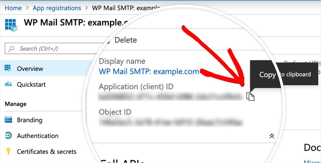 copiar ID de la aplicación