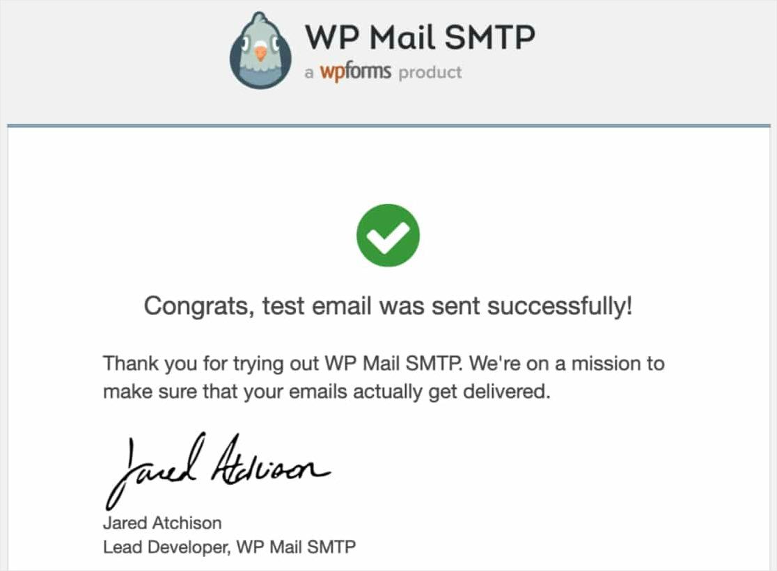 confirmación de correo electrónico de prueba exitoso enviar correos electrónicos de WordPress con Mailgun