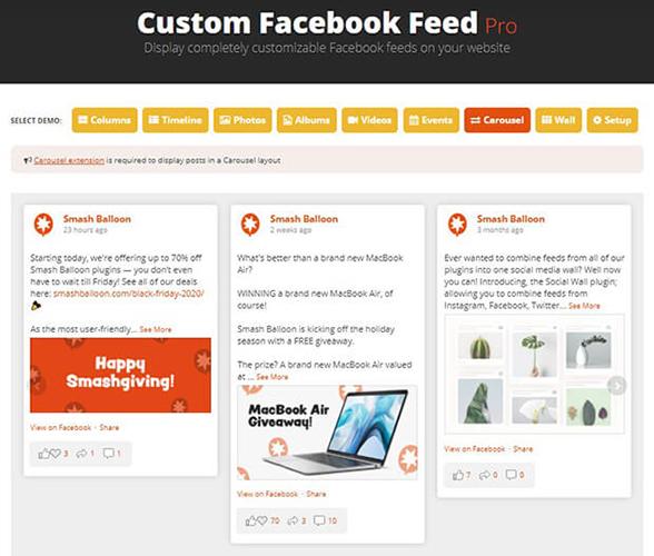 Personalizado Facebook Feeds