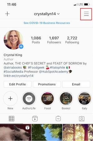 Convierta Instagram en perfil comercial: toque Menú de hamburguesas