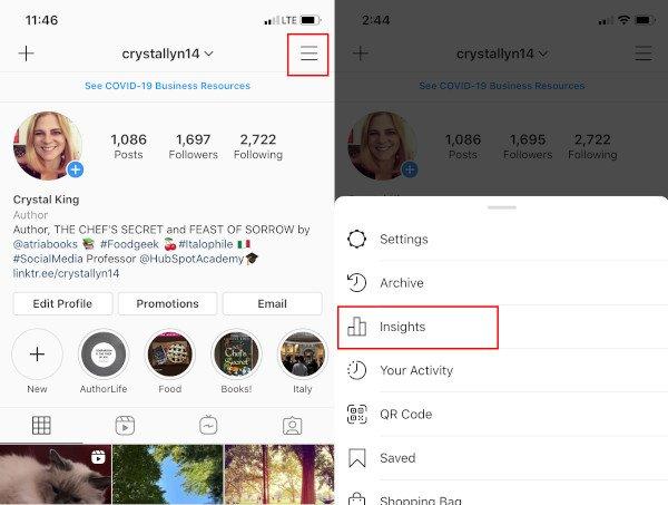 Ver Instagram Insights: Navegación a Insights desde el menú de Instagram