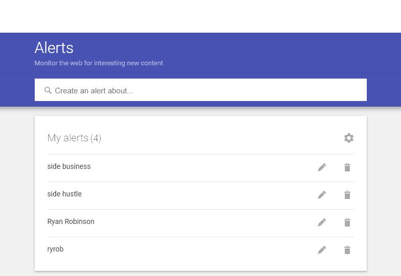 Alertas de Google (captura de pantalla) Ejemplo de sugerencias e ideas