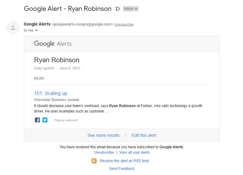 Correo electrónico para alertas de Google sobre Ryan Robinson (ejemplo)