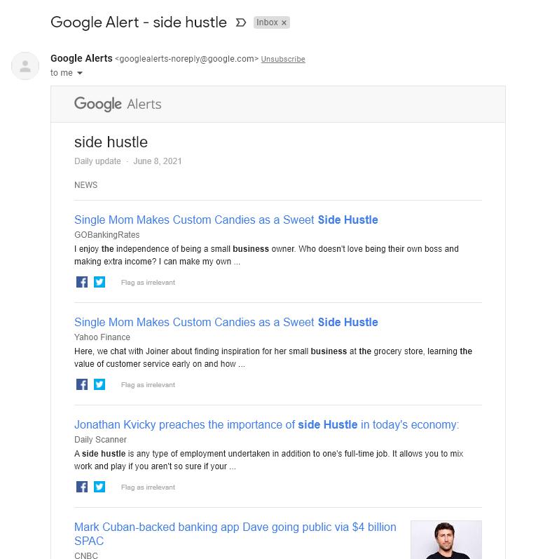 Cómo se ve un correo electrónico de alertas de Google (captura de pantalla)