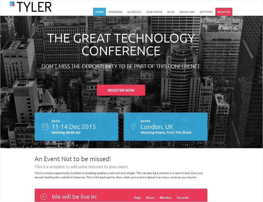 Tyler event tema de wordpress para conferencias.