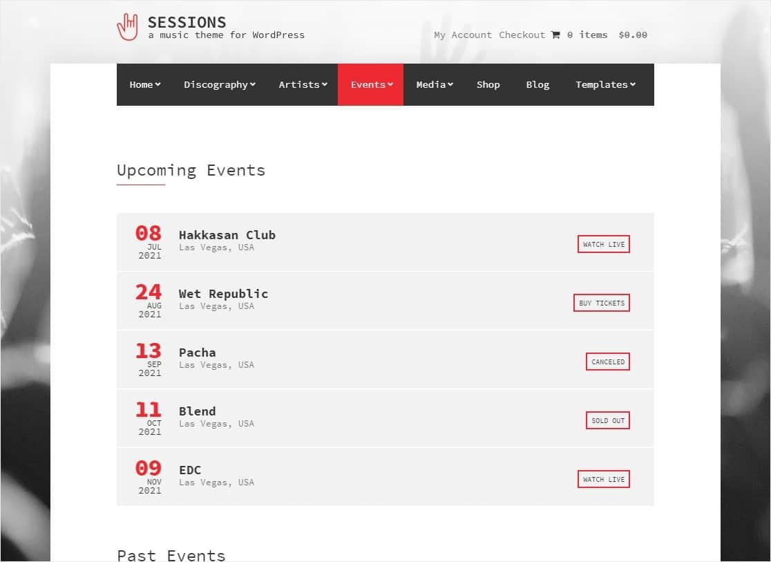 sesiones evento tema wordpress
