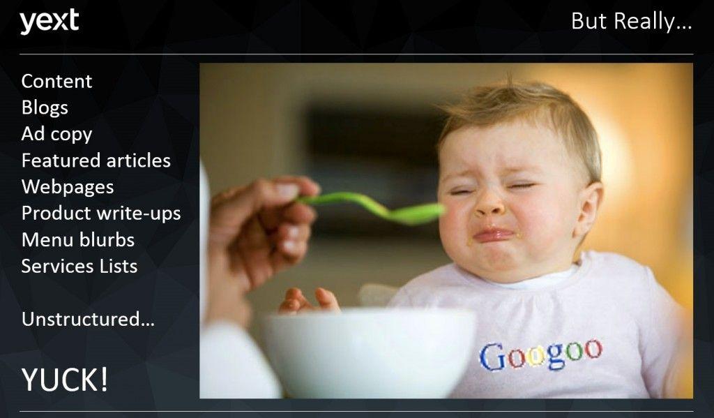 Una diapositiva de presentación con una foto de un bebé de aspecto infeliz al que se alimenta con una cuchara.  El bebé lleva un babero con la palabra