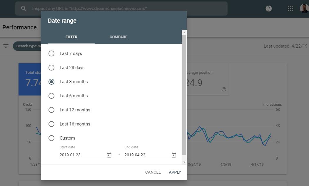 Vista previa del período de tiempo de los datos disponibles en la pantalla del informe de rendimiento de la nueva consola