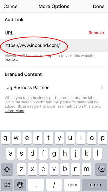 Agregar enlace a la historia de Instagram: designar URL