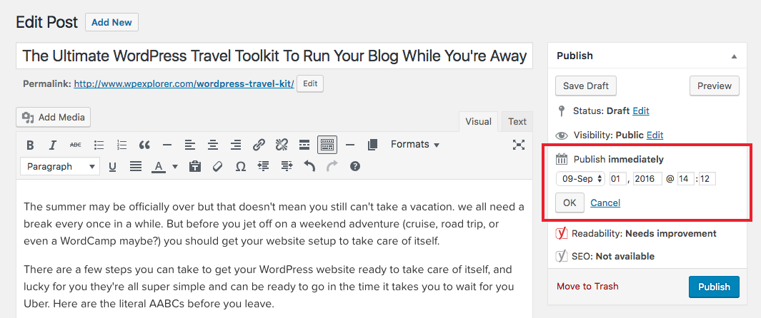 Programación de publicaciones de WordPress