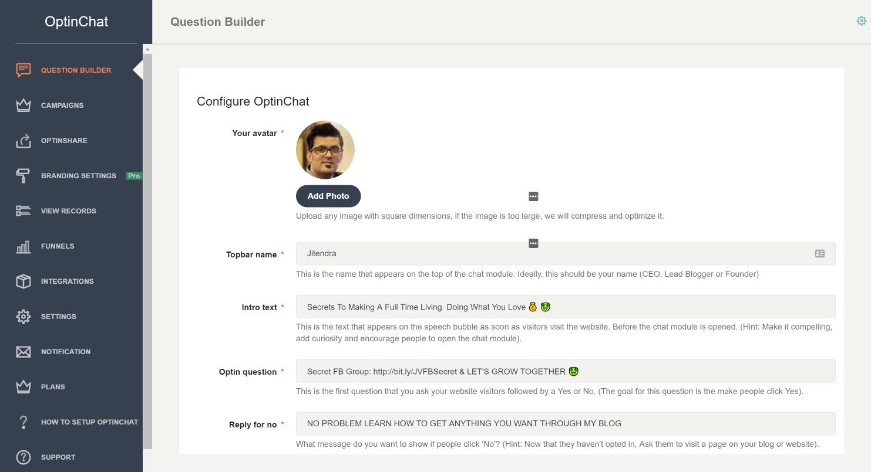 Creador de preguntas de OptinChat