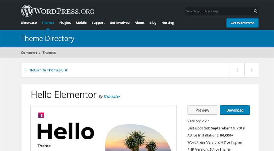 Captura de pantalla del directorio de temas de WordPress para soporte
