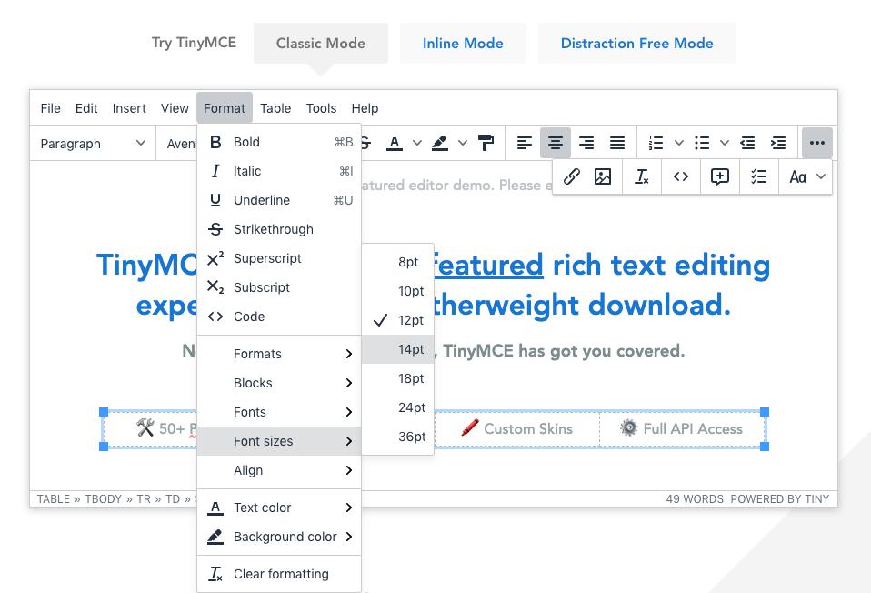 Cómo cambiar el tamaño de fuente en la captura de pantalla del complemento TinyMCE de WordPress