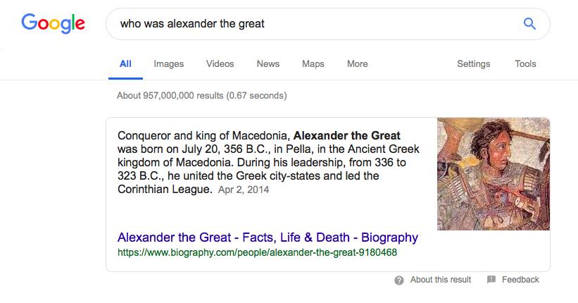 Ejemplo de un fragmento de Google para una consulta de búsqueda en particular