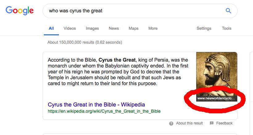 Ejemplo de obtención de imágenes y contenido de fragmentos de Google de dos sitios diferentes