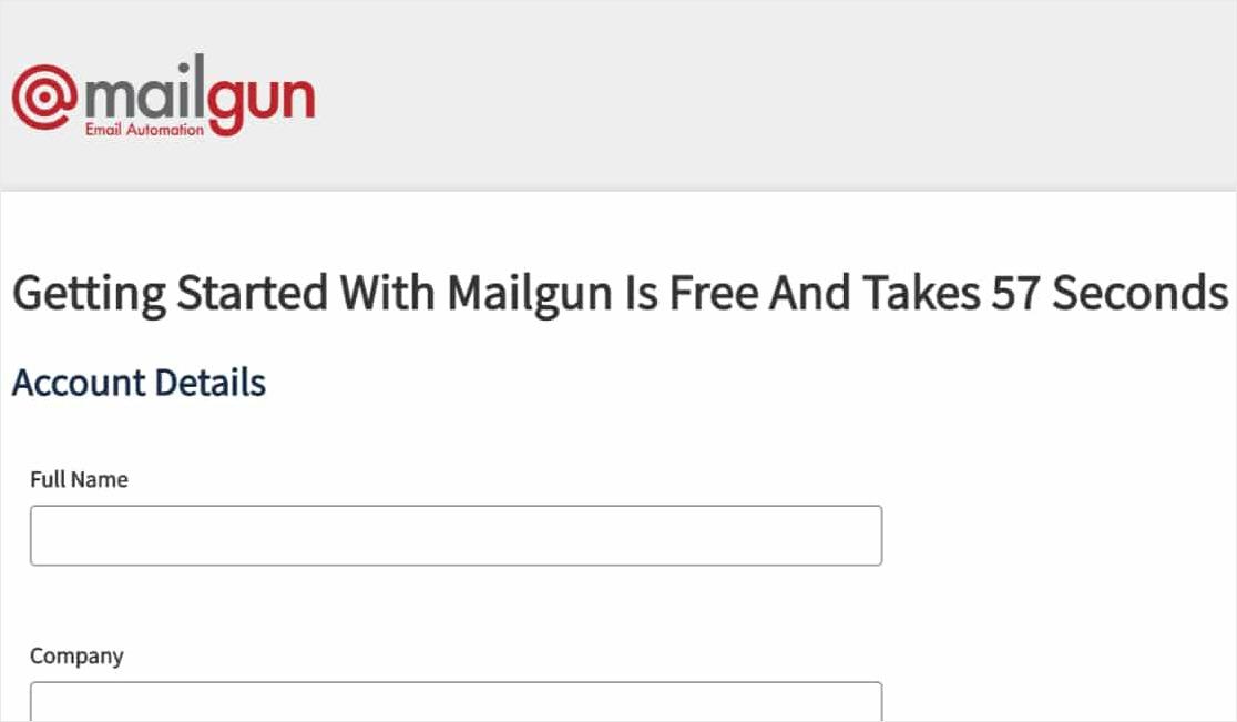 registrarse para una página de cuenta de mailgun