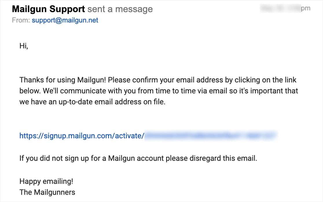 mensaje de soporte mailgun
