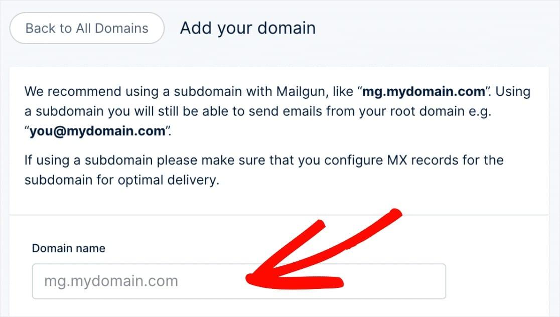 agregar dominio para enviar correo con mailgun